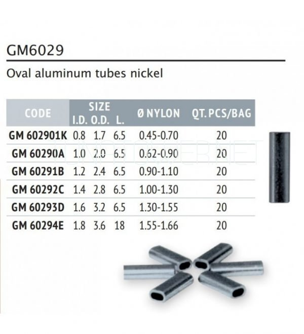 Colmic - Series GM6029 Oval Aluminum Tubes Nickel